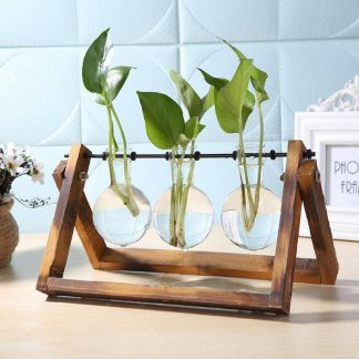 Home & Garden Glass Table Vases With Wooden Trays