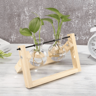 Home & Garden Glass Table Vases with Natural Wood Trays