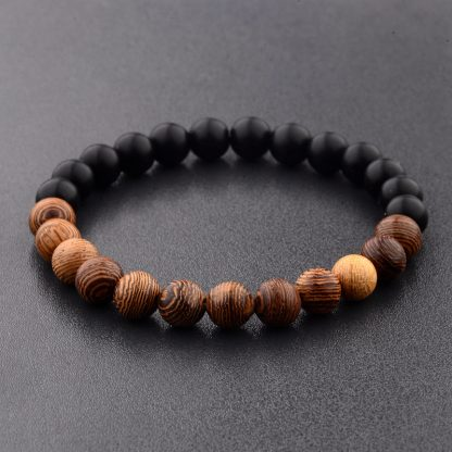Ethical Jewellery Elastic Natural Wood Beads Bracelet