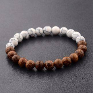 Ethical Jewellery Elastic Natural Wood Beads Bracelet