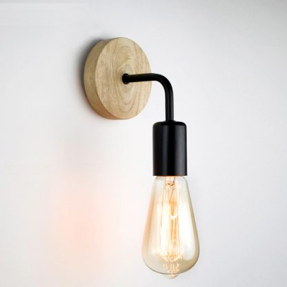 Home & Garden Industrial Style Wood Wall Light