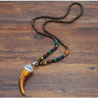 Health & Beauty Boho African Style Wooden Pendant Necklace