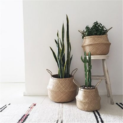 Home & Garden Handmade Seagrass Woven Foldable Storage Basket HAND-MADE