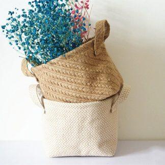 Home & Garden Braided Jute Storage Basket for Storage