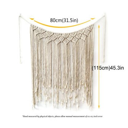 Eco-Friendly Bathroom Macrame Wall Hanging 100 x 115cm Cotton Handmade Large Woven Wall Tapestry Large Boho Wedding Backdrop Decoration for Indoor