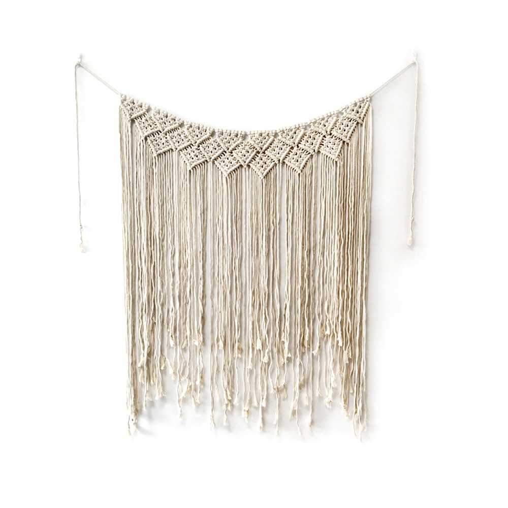 Macrame Wall Hanging 100 x 115cm Cotton Handmade Large Woven Wall Tapestry Large Boho Wedding Backdrop Decoration for Indoor