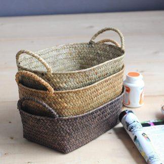 Green Kitchen Handmade Straw Rattan Basket 100% Natural