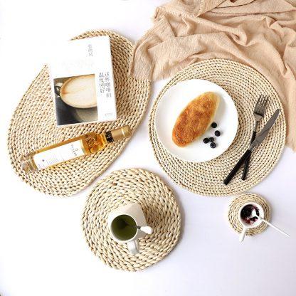 Green Kitchen 3x Natural Corn Straw Dining Table Mats 100% Natural