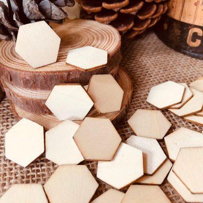Alternative Entertainment 100pcs Unfinished Natural Wood Hexagons