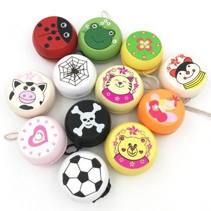 Wooden Toys Cute Animal Prints Wooden Yoyo