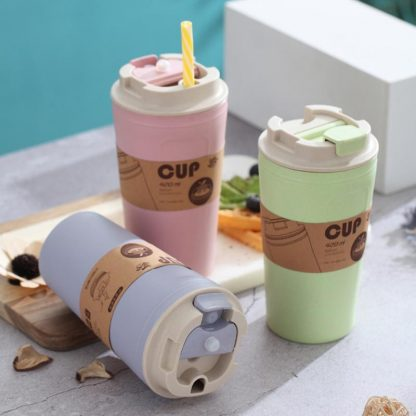 Eco-Friendly Bathroom 420ml Practical Reusable Natural Bamboo-Fiber Eco-Friendly Coffee Cups 100% Natural